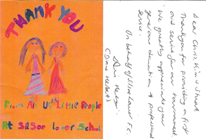 a card received from Silsoe Lower School
